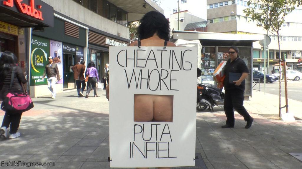 Unfaithful slut paraded naked through the streets