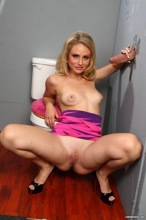Blonde Charlie Monroe sucks a bigcock at gloryhole