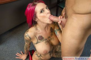 Redhead Anna Bell Peaks fucked in office and sucks