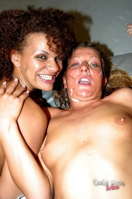 Two german sluts enjoying black and white dicks in