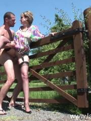 British mature slut Lady Sonia fucking outdoors