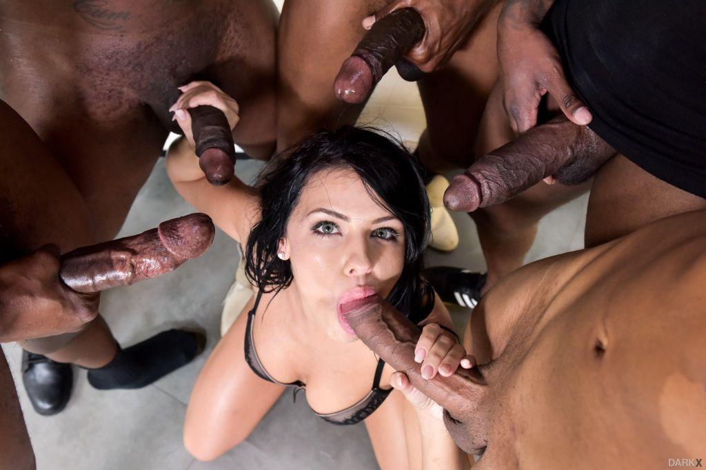 Horny Adriana Chechick in interracial gang bang se