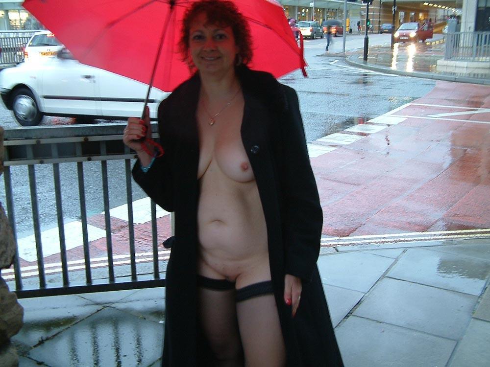 mature public flashing