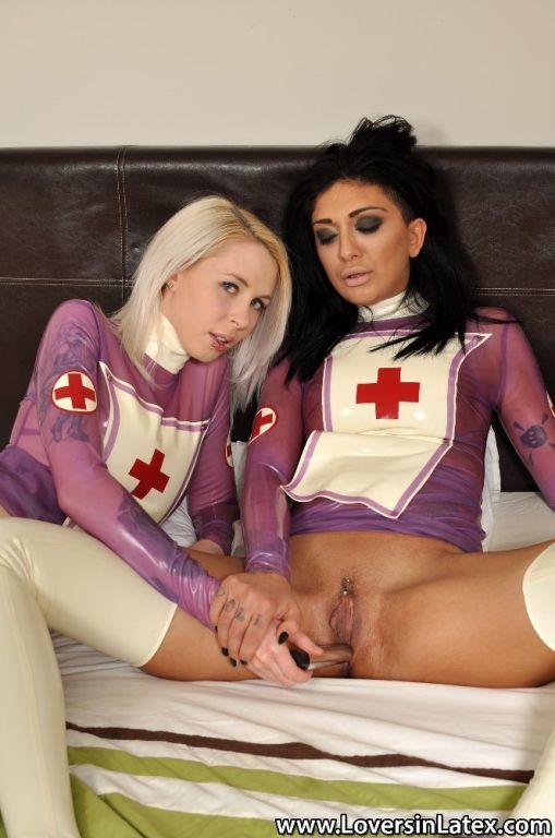 Sexy lesbian nurses in latex