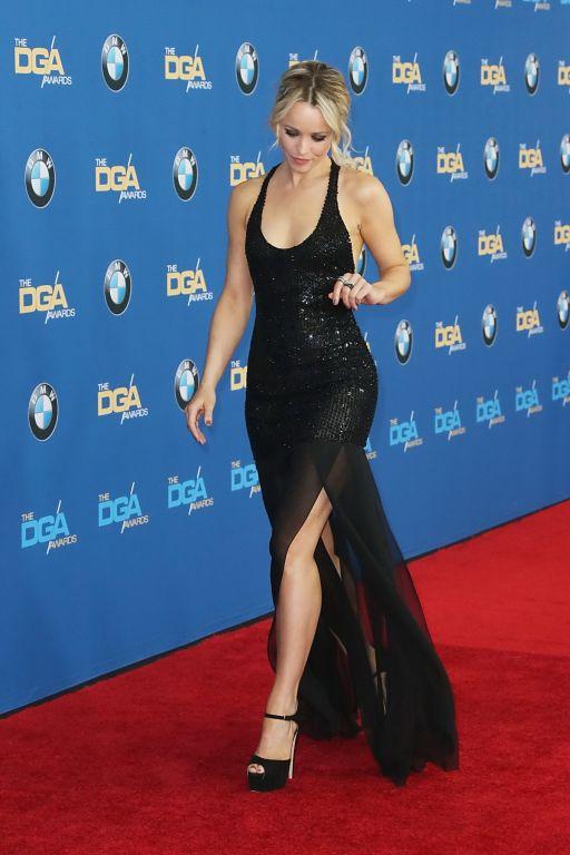 Rachel McAdams cleavy and leggy in tight black dre