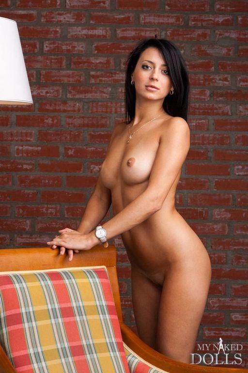 Super hot dark brunette undressing