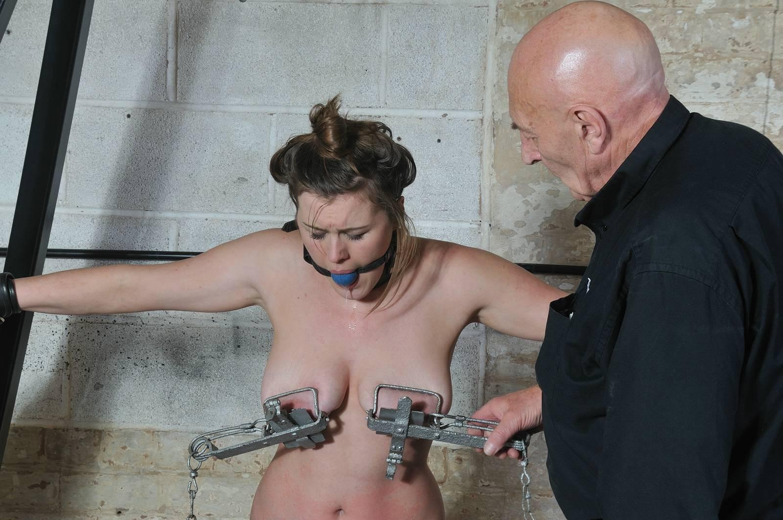 Saggy tit torture curious