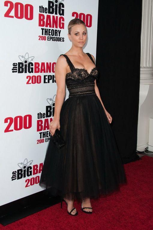 Kaley Cuoco busty in a low cut sheer dress