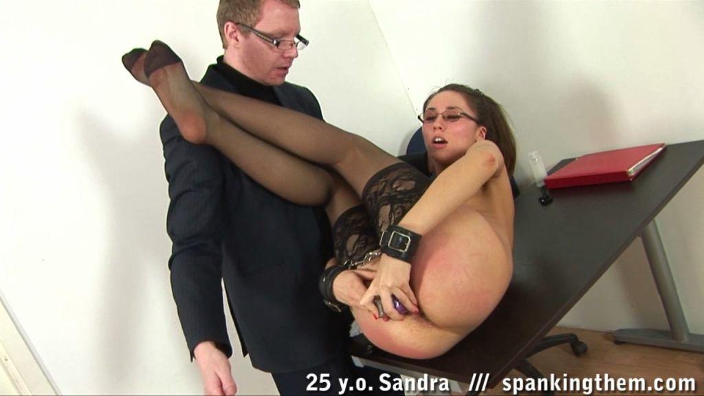 Office sex toy masturbation of a smacked teacher