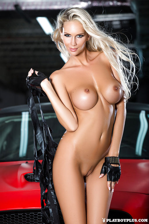 Top blonde centerfold model Andrea Jarova strikes