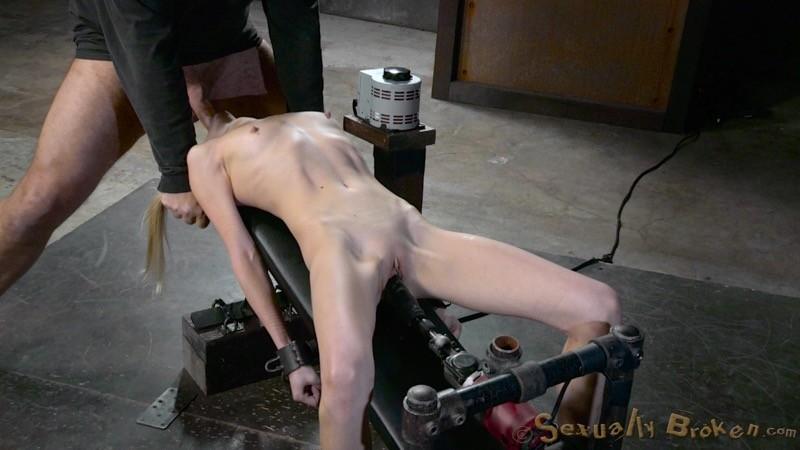 4'11 fresh faced deepthroat pixie bound on fucking machine ...