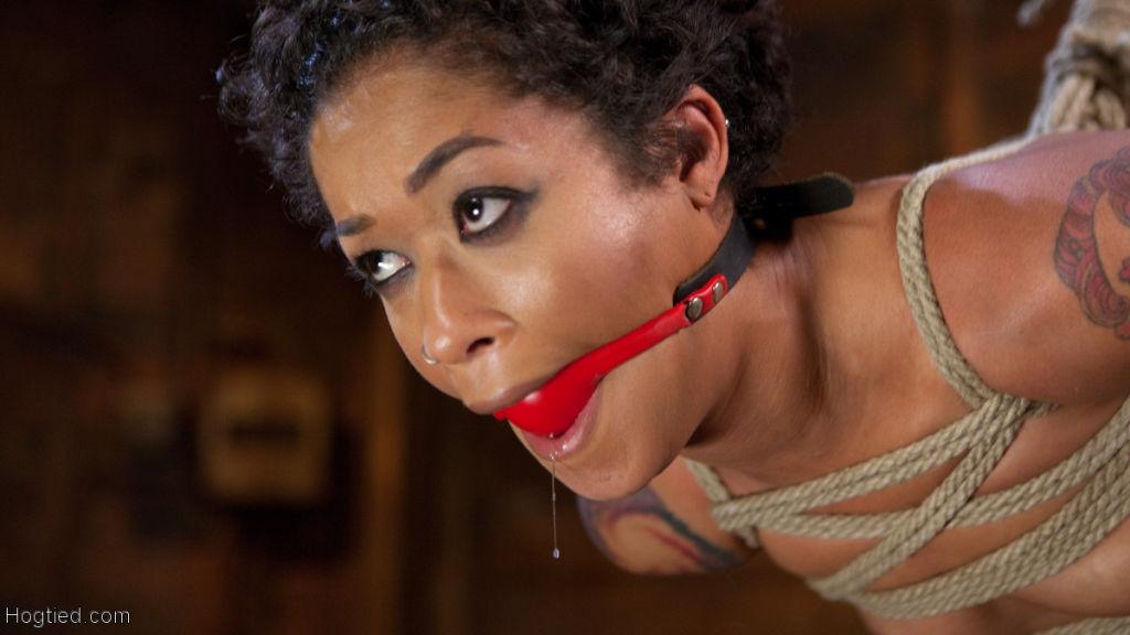 Sexy Ebony Bondage Slut is Helpless in Strict Bond