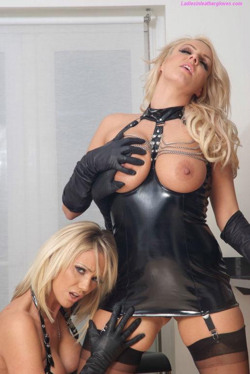 Sexy blonde leather glove loving babes Dannii Harw