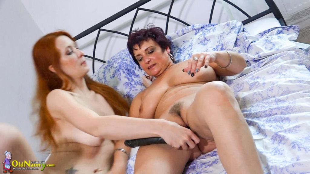 Horny grandmas masturbate and fucking with sexy wo