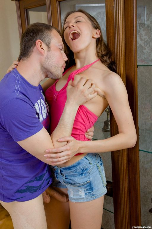 Young Busty brunette teen gets her tight ass fucke