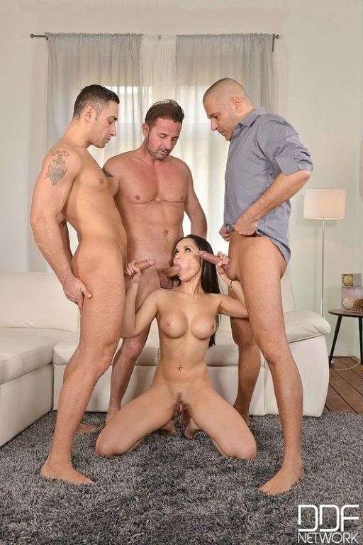 Four studs double penetrate brunette russian whore