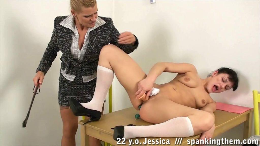 Crazy female spanker