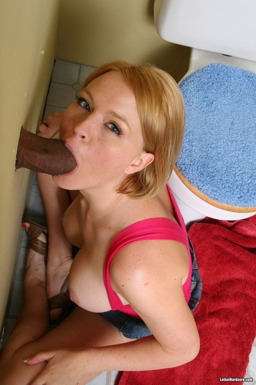 Blonde Krissy Lynn sucks a huge black at gloryhole