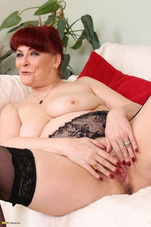 Bigboobs amateur milf in black stockings strips