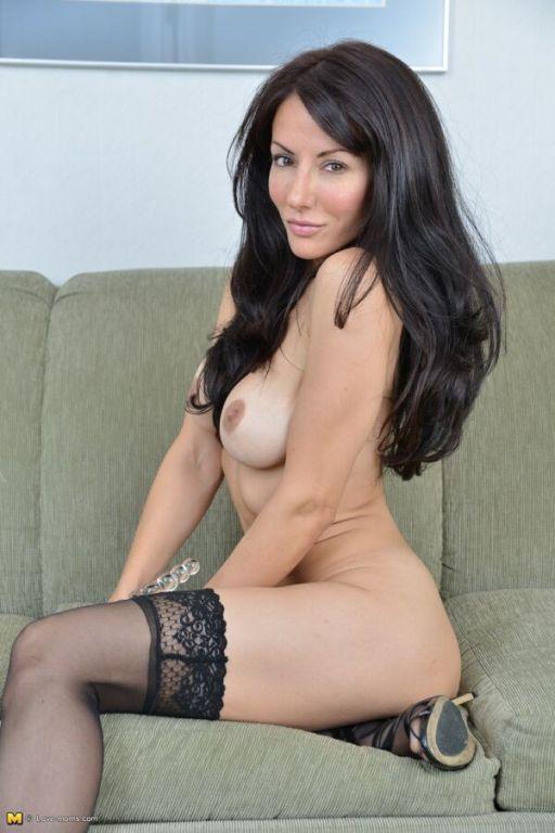 Olivia Bell busty longlegged milf in black stockin