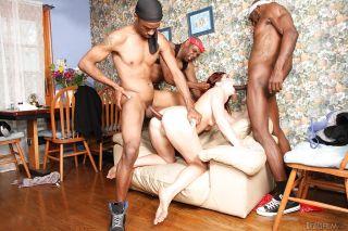 Interracial gangbang dp scene with slut who loves
