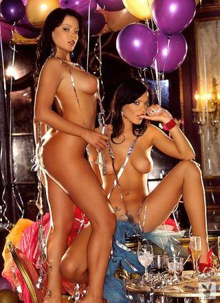 Sexy Playboy Teles Twins playing and masturbating