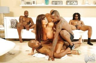 Hot milf Lisa Ann is into interracial gangbang act