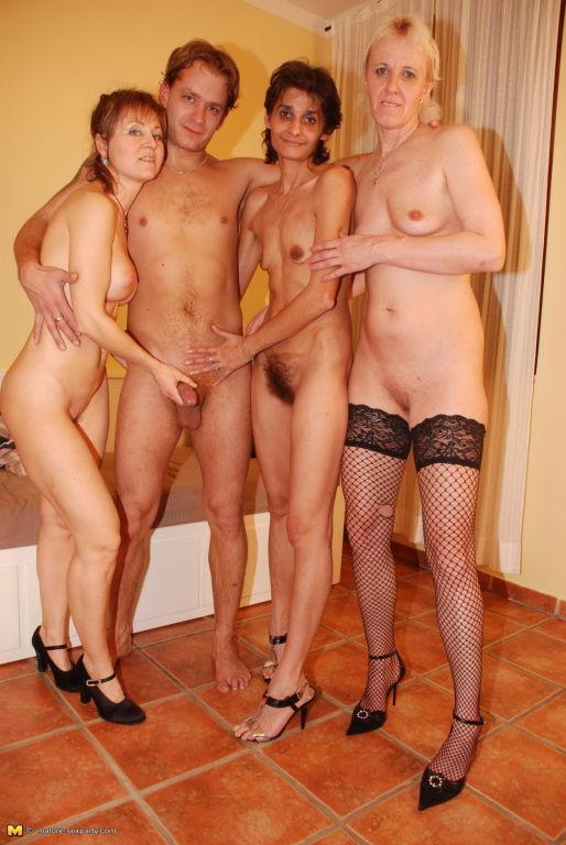 Three older ladies share one hard cock