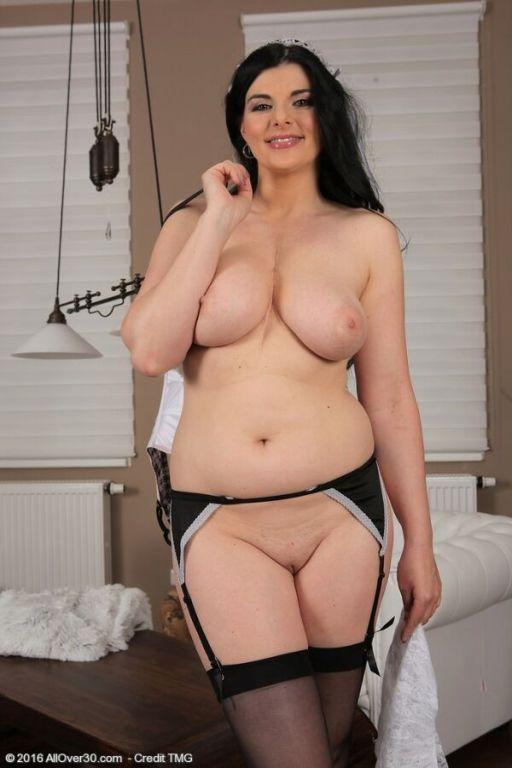 Sandra Nero busty milf maid in black stockings str