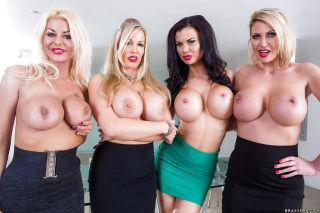 Big titty secretaries and friends flashing hooters
