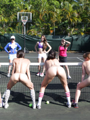 College lesbians are having some fun on tennis cou