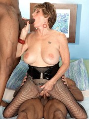 Dirty grandma craving two huge black cocks