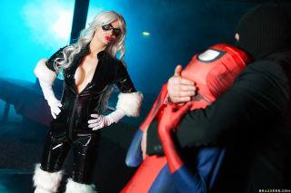 Spiderman fucking busty blonde Mila Milan in doggy