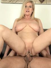 Pierced mature pussy fucked hard