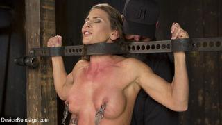 Super buff, hard bodied slut in grueling bondage,