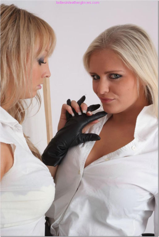 Hot busty blonde secretaries love to fondle big bo