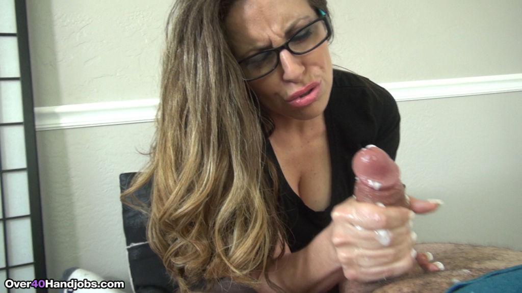 Busty milf boss Mrs Lopez jerking her intern
