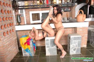 Two shemales at the bar