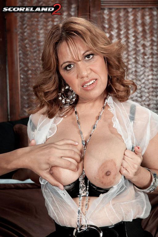 Busty Marisa Carlo sucking a big Cock