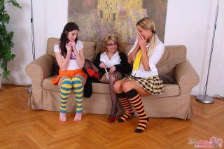 Teen Kattie Gold and her girlfriend seduced by mat