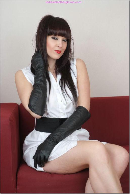 Stunning brunette Sammii Jo wearing gorgeous glove
