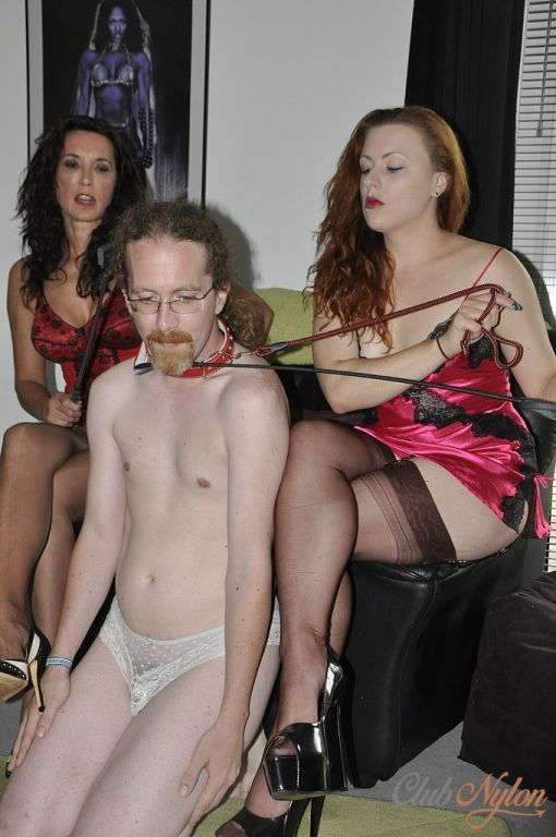 Sexy Milf femdoms tease and punish pathetic nylon