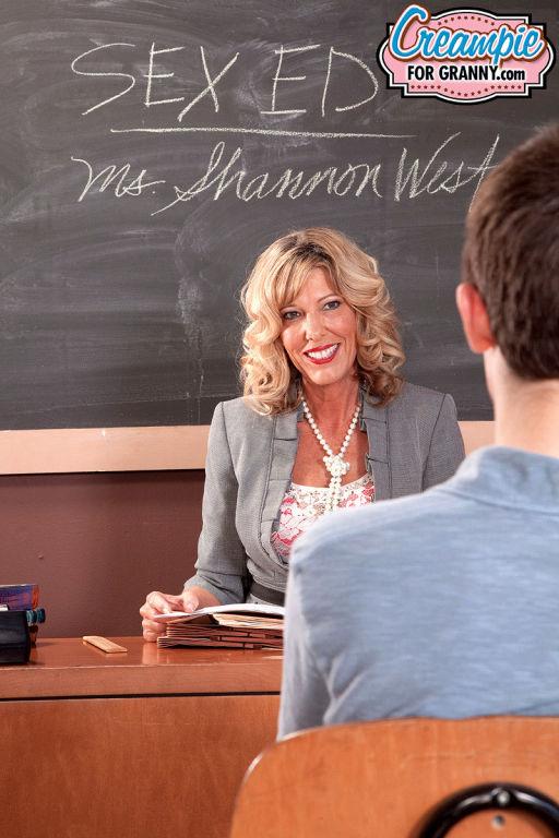 Sexy mature teacher Shannon West teasing