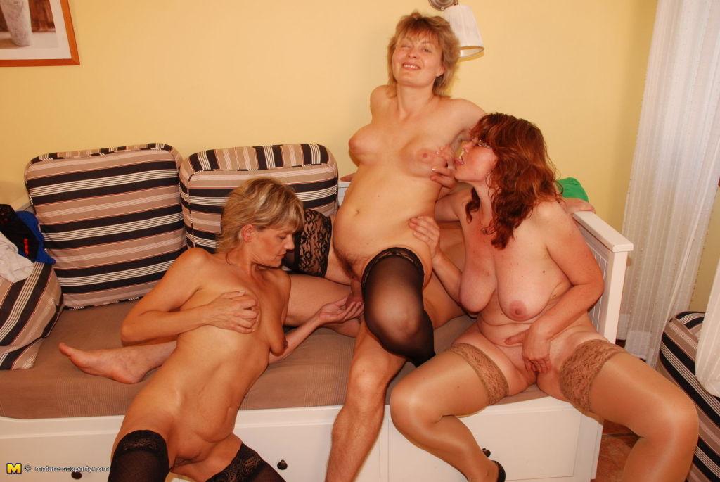 One lucky guys fucking three mature sluts