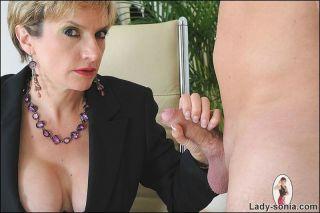 Mature secretary Lady Sonia sucking cock