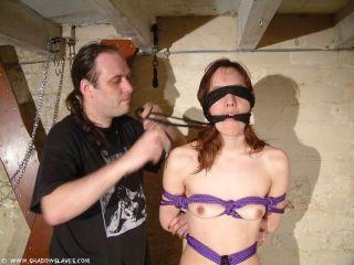 Filthy slave girl gets blinded and bound