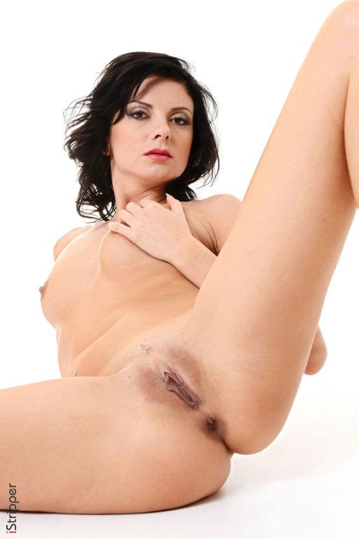 Slender leggy brunette Monika Benz stripping and p