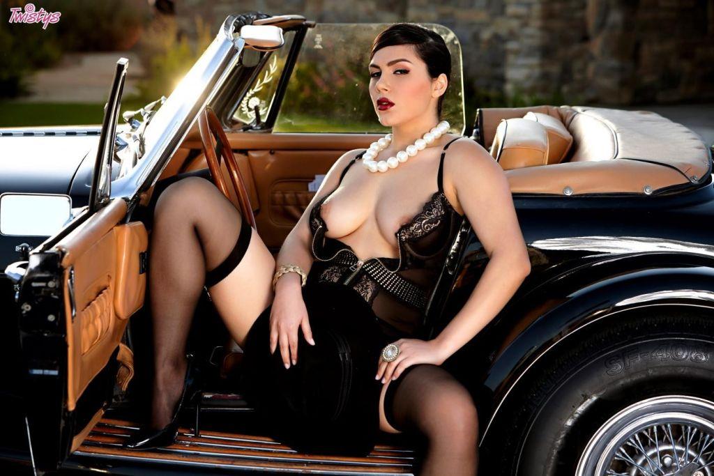 Girl in erotic sheer lingerie is masturbates hot c