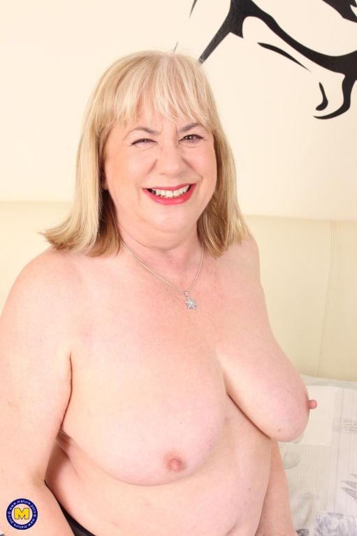 Big British mama playing with herself