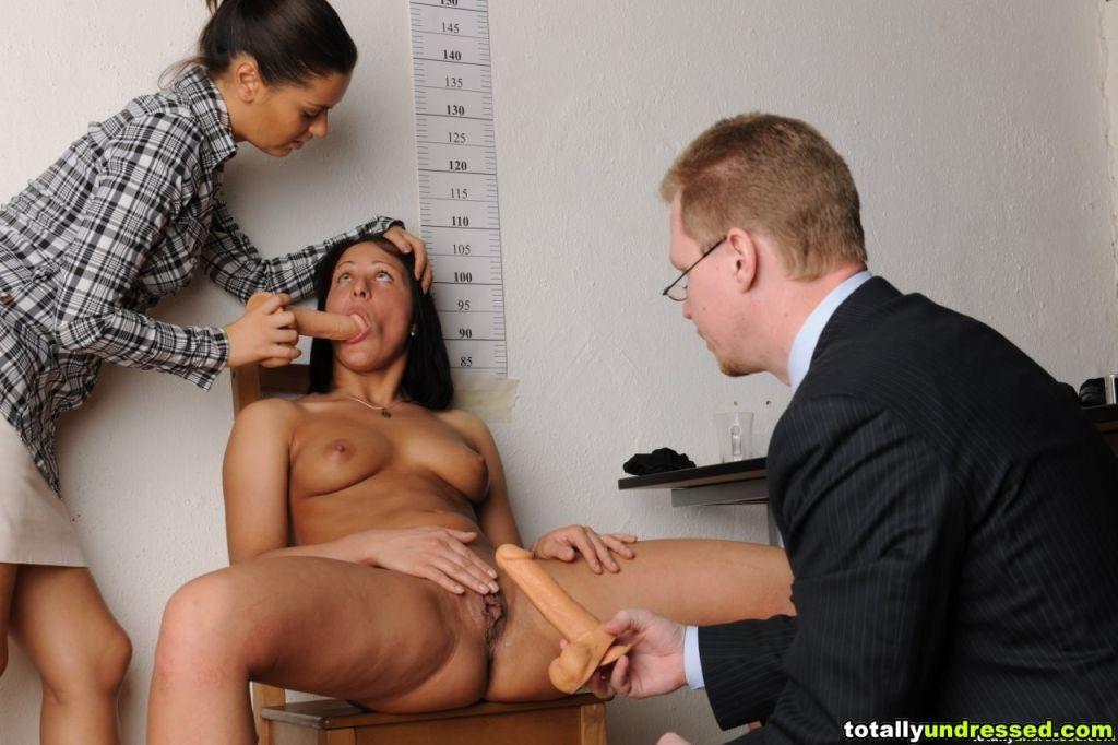 Lesbian interviewer makes a secretary do fetish th
